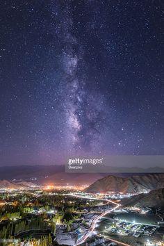 Stock Photo : Milky way over Leh city in Leh Ladakh, India.