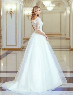 Lace Ball Gown Tulle Wedding Dress