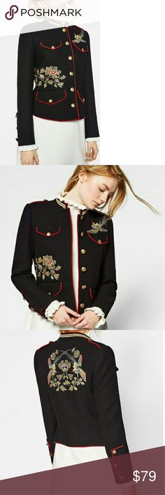 Zara  Military Embroidery GORGEOUS ! STUNNING PIECE!  New with tags ! Zara Jackets & Coats