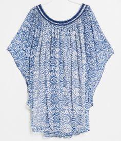 robe évasée blanche imprimé bleu mango