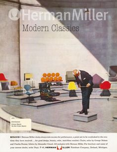 Vintage Herman Miller Ads.  These ads produced between 1952 and 1963 and were run in magazines such as House beautiful, Sunset, Brides magazine, Better homes and gardens. @CTSart #design