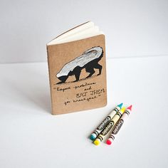 le honey badger molskine notebook. leanimale on etsy.