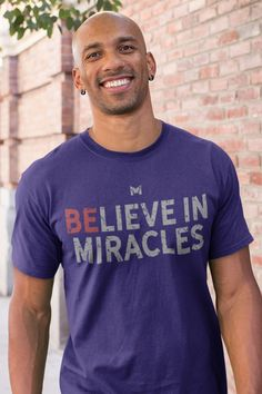 This comfy Believe In Miracles shirt is perfect for staying cool during the summer. Unisex for men & women. This Believe In Miracles graphic t-shirt is available in multiple sizes and colors. Also be sure to grab a few extra Believe In Miracles shirts because they make the best Christmas gifts and birthday presents! It's sure to become a favorite tshirt. Believe In Miracles, Inspirational Quotes Pictures, Stylish Shirts, Best Christmas Gifts, Birthday Presents, Best Sellers, Perfect Fit, Looks Great, Graphic Tees