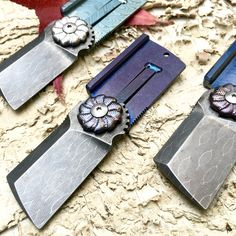Small Flipper Damascus and Moku-Ti Dogtag Folding knife - perfect EDC Knife by Darriel Caston