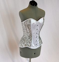 3ea7bdb7046 Shiny siquins and satin overbust authentic corset with long hip-line. Steel-boned  corset for tight lacing