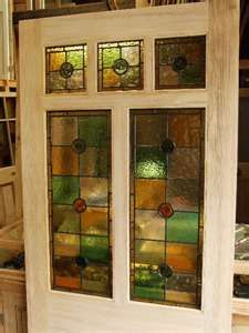 Stained glass to the color scheme of your kitchen for a cupboard!