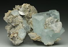 Gemmy Aquamarine crystals with Muscovite from Pakistan.