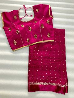 Pearl Georgette saree with stitched blouse. Pearl Georgette saree with stitched blouse. Chiffon Saree, Georgette Sarees, Silk Sarees, Saree Blouse Patterns, Saree Blouse Designs, Pattu Sarees Wedding, Rajasthani Dress, House Of Blouse, Stylish Blouse Design