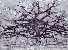 arbre gris 1911, Piet Mondrian : tableau de Grands Peintres et peinture de Mondrian