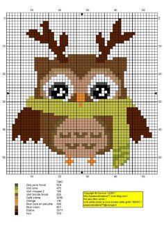 Owl with scarf cross stitch