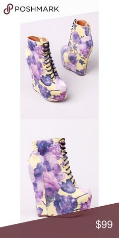 Jeffrey Campbell wedge shoes size 8.5 Purple and yellow floral wedge Jeffrey Campbell shoes size 8.5 only used 1 time in a photoshoot 👌🏼 Jeffrey Campbell Shoes Wedges