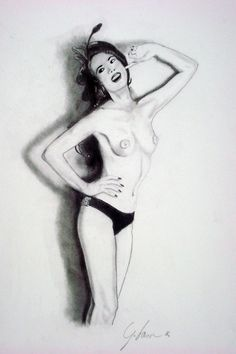 Model: Veruska Puff, Artist: Giacomo Lascala ( www.giacomolascini.it www.accademiadegliartisti.net ) Burlesque portrait.