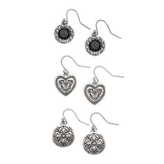 """Charms-Silver Grace Adele Drop Earrings Can't make up your mind? Get a three-pack of simple charm drop earrings: daisy, disk, and heart. Then wear them out! Charms Collection  •  Silver tone  •  Hook earring  •  Set of 3  •  Each approximately .63"""" length  https://myfashions.graceadele.us/GraceAdele/Buy/ProductDetails/10290"""