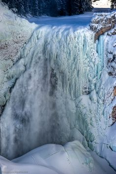 Yellowstone Falls in Winter, Yellowstone National Park, Park County, Wyoming, USA.