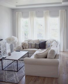 I love the warmth white and gray have when you do it right! ~ My Home Diary: New Curtains