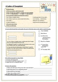 Complaint Format Letter Impressive This Worksheet Helps Students To Develop Their Writing Skillsit .