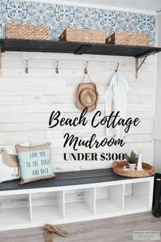 Beach Cottage Mudroom makeover on a budget. Learn how I DIY'ed this coastal style mudroom or coastal style entryway wall on a budget. Cottage Style Mudroom, Beach Cottage Style, Beach Cottage Decor, Coastal Style, Coastal Decor, Diy Home Decor, Coastal Living, Coastal Cottage, Cottage Ideas