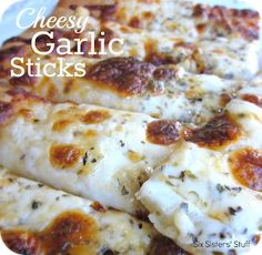 Cheesy Garlic Sticks Recipe from SixSistersStuff.com- quick and easy side dish!