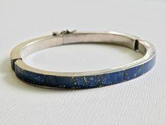 Bangle Bracelet Sterling Silver Blue Lapis Bracelet Vintage Hinged Bangle Vintage Jewelry Hinged Bracelet Industrial Modernist Bracelet by TheJewelryChain on Etsy