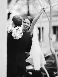 excited bride after the wedding ceremony