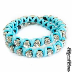 Blue Bubblegum Double Wrap Bracelet