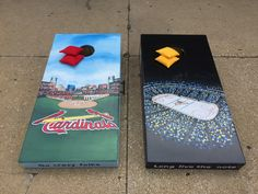 https://flic.kr/p/wfSMDM | Front View of Busch Stadium and the Scottrade Center | These were also hand painted cornhole bag sets