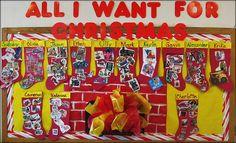 Christmas Bulletin Board- so cute Preschool Christmas, Christmas Activities, Christmas Crafts For Kids, Kids Christmas, Christmas Plays, Christmas Parties, Xmas, Display Ideas Nursery, Nursery Display Boards