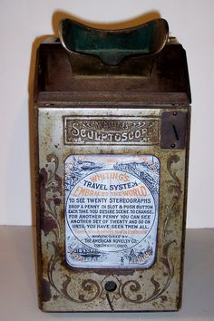 "Circa 1904 ""Sculptoscope"" coin-op  3-D photo viewer by Whiting."