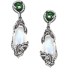 Arya Esha Diana Rainbow Moonstone, Emerald, and Diamond Earrings (11,935 CAD) ❤ liked on Polyvore featuring jewelry, earrings, monarch butterfly earrings, 14k jewelry, butterfly earrings, diamond jewelry and emerald jewelry