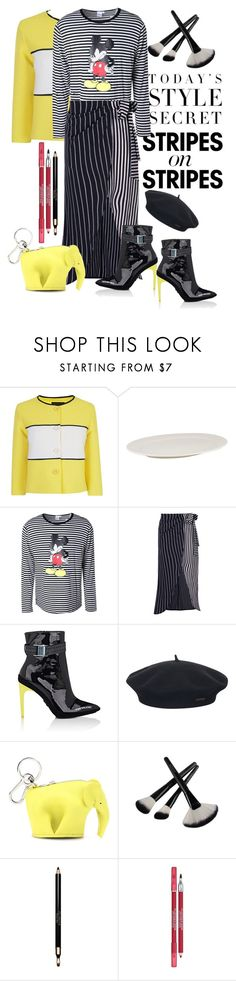 """Oh no, Mickey's pissed!"" by loves-elephants ❤ liked on Polyvore featuring Boutique Moschino, Disney, Boohoo, Off-White, Element, Loewe, Clarins, Lancôme, stripesonstripes and PatternChallenge"