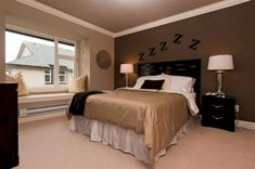 Brown Bedroom Walls, Light Brown Bedrooms, Tan Walls, Accent Wall Bedroom, Accent Walls, Master Bedroom, Brown Bedroom Furniture, Brown Paint Walls, Brown Bedroom Decor