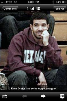 Drake in aggie gear, HOLLA