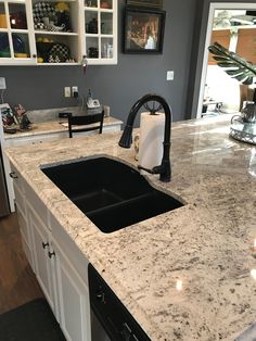 Anthracite Blanco 80/20 silgranite sink with bronze Pfister faucet