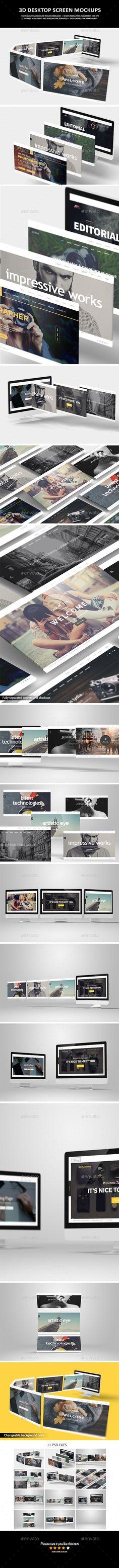 3D Desktop Screen Mock-Up