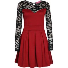 Boohoo Annabelle Lace Detail Box Pleat Skater Dress ($14) ❤ liked on Polyvore featuring dresses, short dresses, red, red sleeve dress, skater dresses, sleeved dresses, red mini dress and lace detail dress