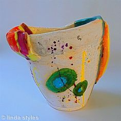 Linda Styles Ceramic Vessel: Hand built soft sheet assemblage juxtaposed to create hollow form, accessorized with specific elements that allude to 'function'. Multi fired & multi surfaced terracotta scratched through to reveal, & overlaid to obscure, accented with precious metals & lustres