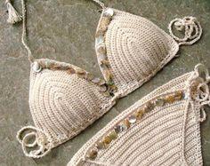 Crochet bikini set in cream and salmon Crochet swimsuit by MarryG
