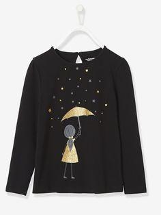 T-shirt fille manches longues imprimé fantaisie - Ivoire+Noir - 6