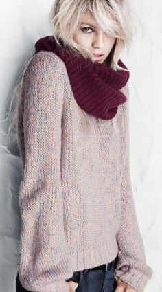 What's not to like?  Site doesn't give a pattern, but the relaxed sweater shape and cowl are made in beautiful colors!