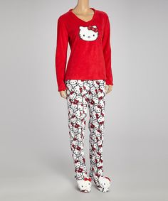 Take a look at this Red Hello Kitty Footie Pajamas - Women on zulily today!