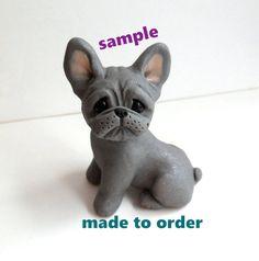 Escultura de Bulldog Francés por Raquel en theWRC mano esculpida arcilla polimérica perro coleccionables