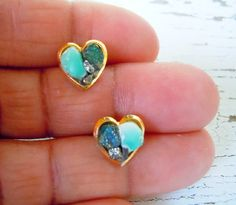 Turquoise Stud Earrings  Heart Shaped With Accents by NaturalGlam, $40.00