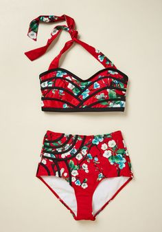 03c0662edfab5 Serene Bikini Top in Botanical Red By High Dive by ModCloth-$49.00 http:/