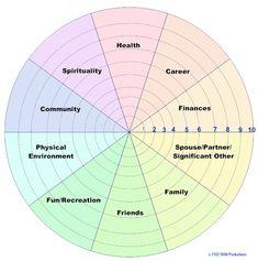 Life Coaching Wheel Diagram - 10 domains.  Very good.