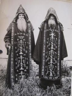 sharkwaterwitchcraft:    Great Schema monks of the Russian Orthodox Church, robed in full habit of the highest degree of Eastern monastic tradition.Origin unknown.