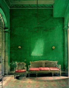I love this dark green for big hall, and baroque furniture ...oh yes