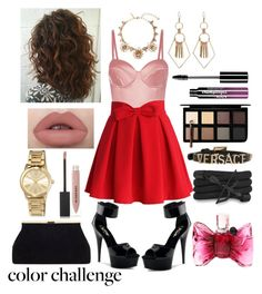 """""""color Challenge : Pink & Red"""" by laurie-dmz ❤ liked on Polyvore featuring interior, interiors, interior design, home, home decor, interior decorating, Fleur du Mal, Chicwish, Oscar de la Renta and Monza"""
