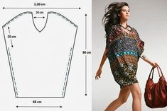 Cómo cser un patrón túnica - easy dress pattern, now where do I find this fabric? Zerschnittene Shirts, Cut Up Shirts, Tie Dye Shirts, T Shirt Yarn, Tunic Shirt, Diy Clothing, Sewing Clothes, Clothing Patterns, Dress Patterns