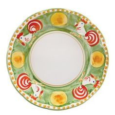 """Vietri Campagna Gallina Rooster 10"""" D Dinner Plate"""