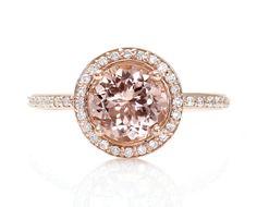 Bague de fiançailles de Morganite 18K Round diamant par RareEarth, $1240.00